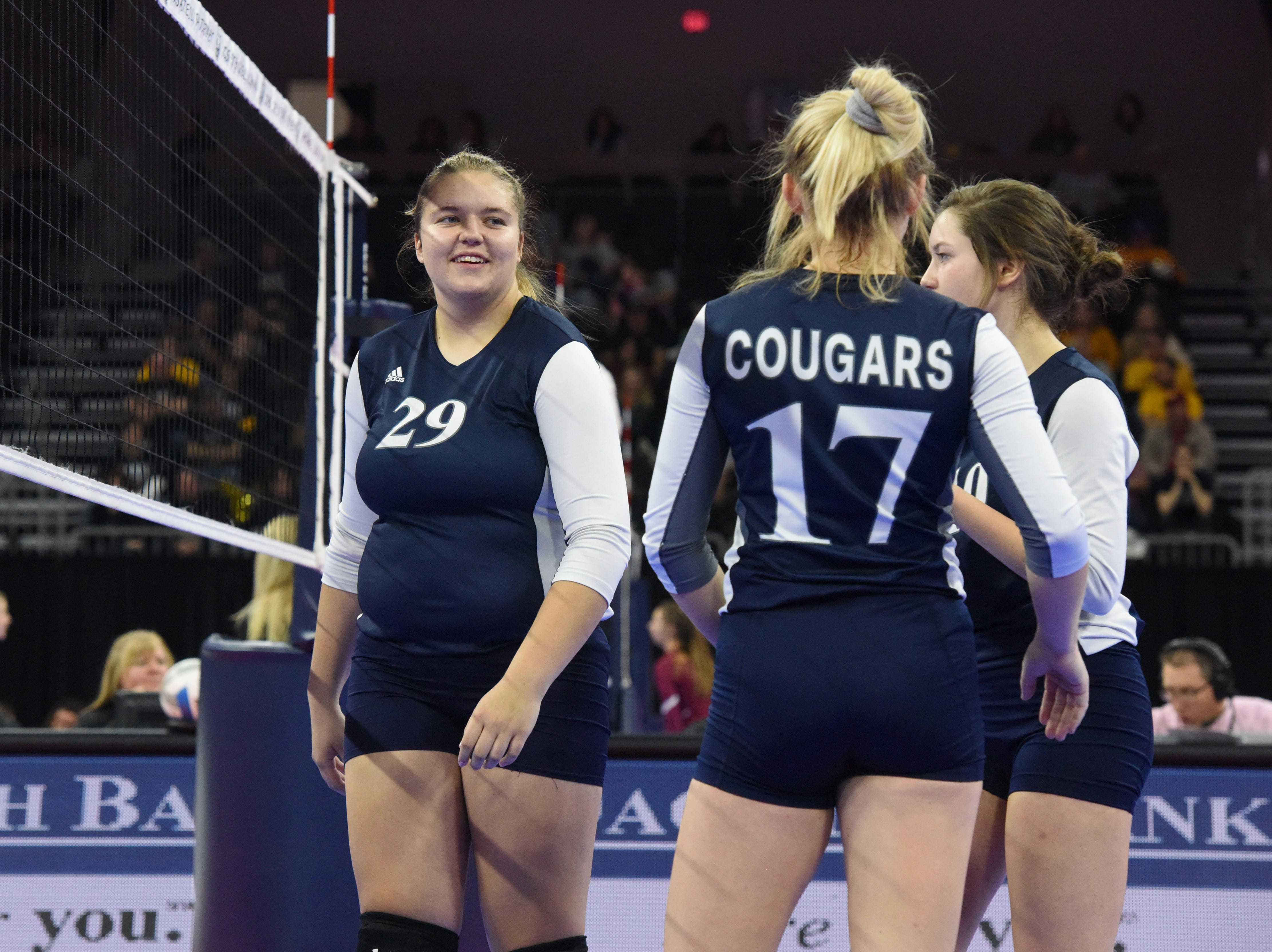 Burke players talk before the match against Ethan, Friday, Nov. 16, 2018, at the Denny Sanford Premier Center in Sioux Falls, S.D.