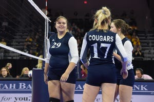 After being hospitalized for blood clots in her lungs and a hole in her heart earlier this month, Burke/South Central senior Brecken Bartling (29) made her state volleyball tournament debut Friday, playing a point against Ethan in the Class B consolation round.