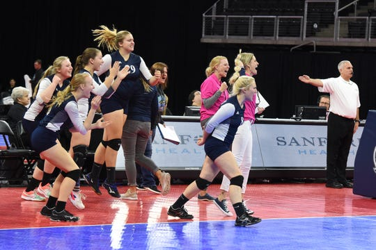 Burke players and coaches react after they win against Ethan, Friday, Nov. 16, 2018, at the Denny Sanford Premier Center in Sioux Falls, S.D.