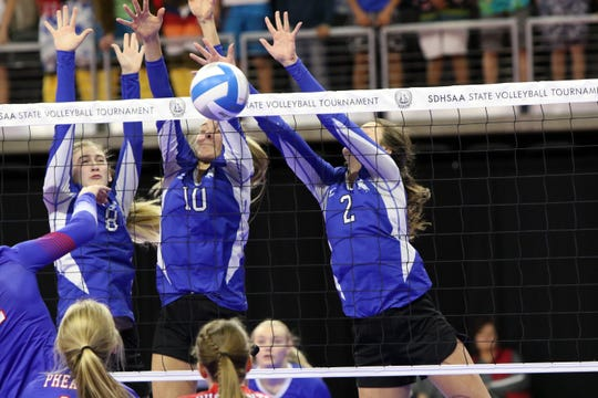 Samantha Fykstra (8) Caitlyn Pruis (8) and Kylee Van Egdom of Sioux Falls Christian create a wall to block the spike by Raelin Jurgens of Parker during Thursday night's game in Sioux Falls.