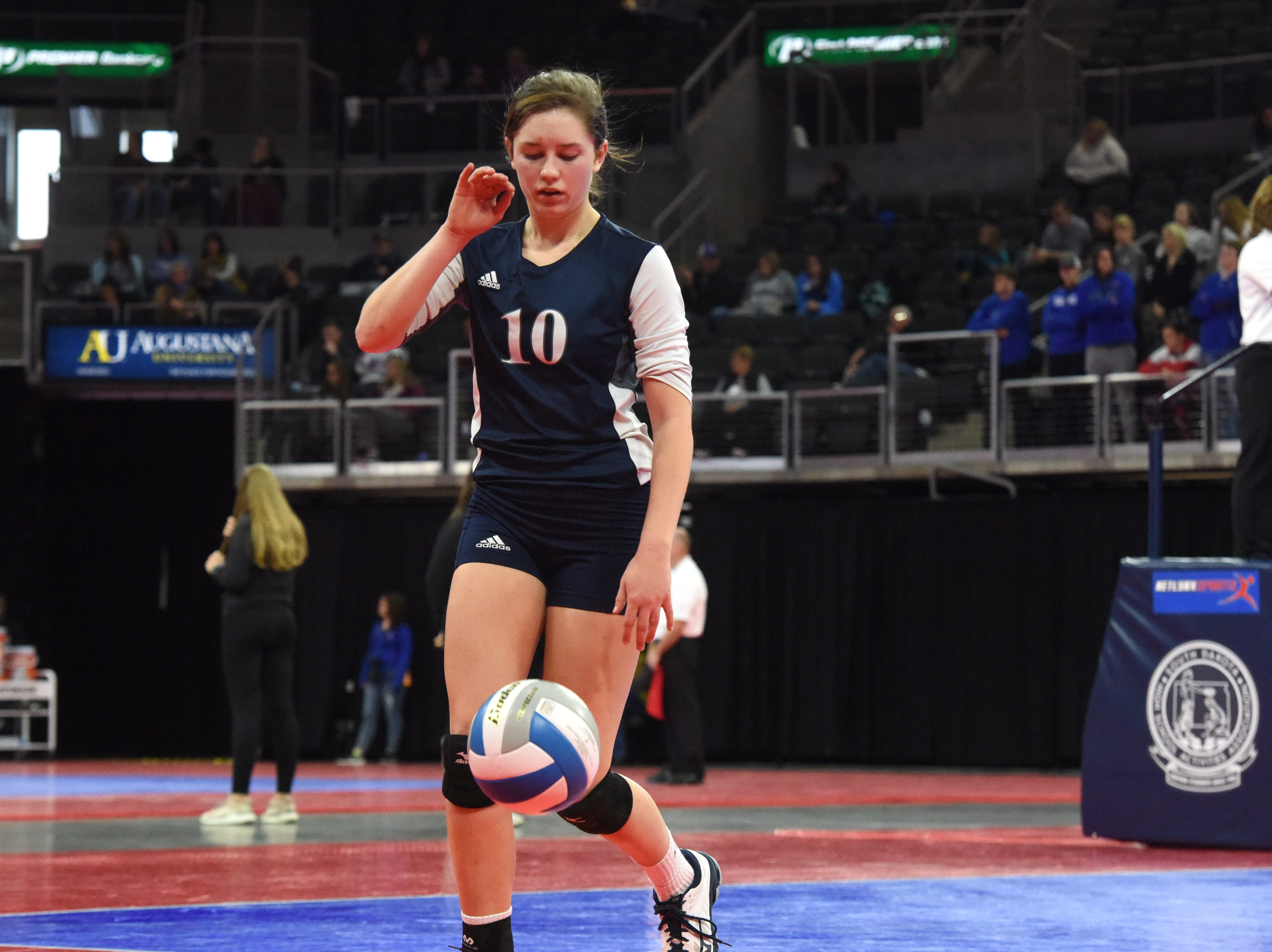 Burke's Bobbi Jo Wischmann (10) prepares to serve the ball during a match against Ethan, Friday, Nov. 16, 2018, at the Denny Sanford Premier Center in Sioux Falls, S.D.