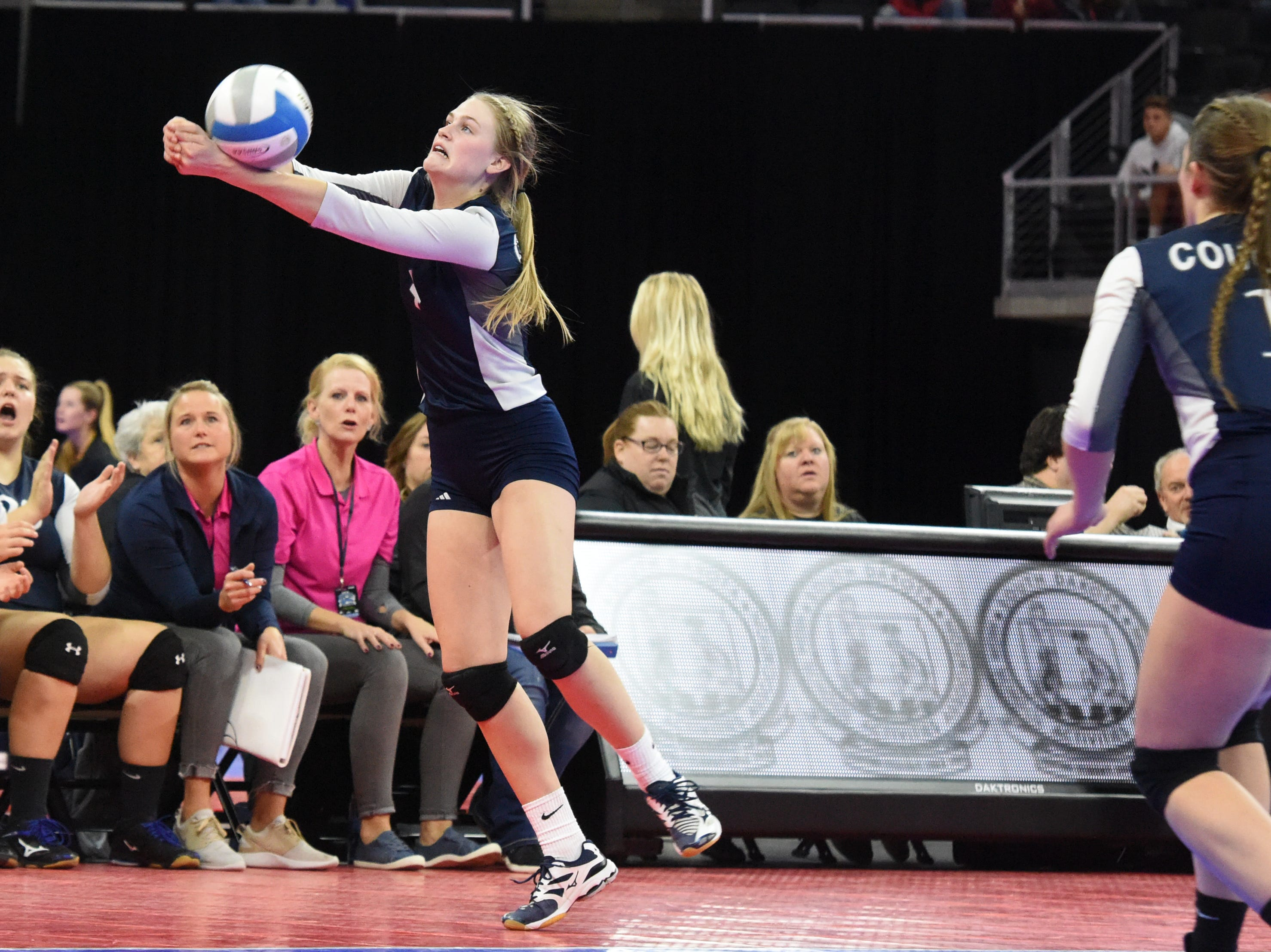 Burke's Taylee Indahl (4) bumps the ball during a match against Ethan, Friday, Nov. 16, 2018, at the Denny Sanford Premier Center in Sioux Falls, S.D.