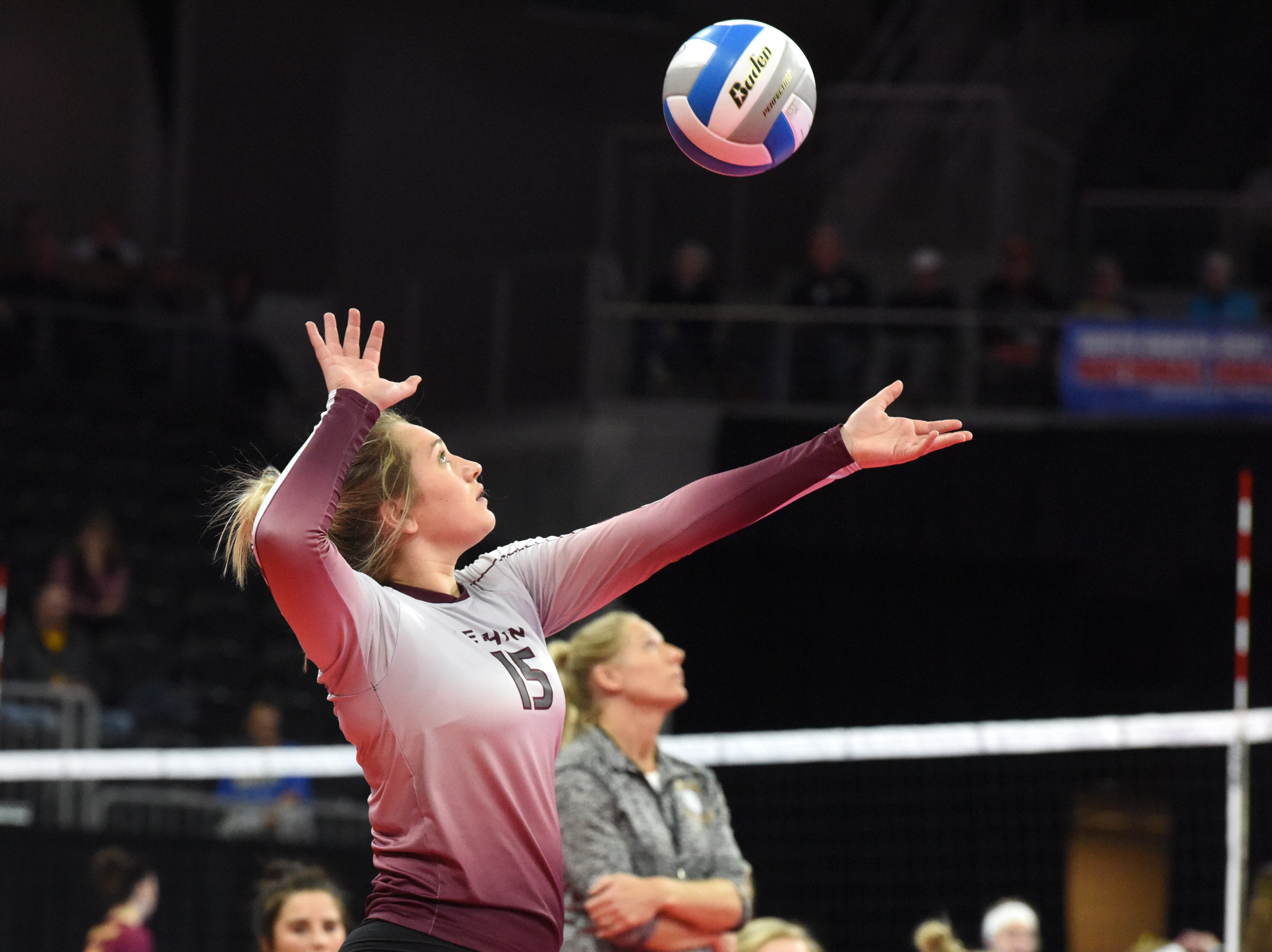Ethan's Cameryn Logan (15) serves the ball during a match against Burke, Friday, Nov. 16, 2018, at the Denny Sanford Premier Center in Sioux Falls, S.D.
