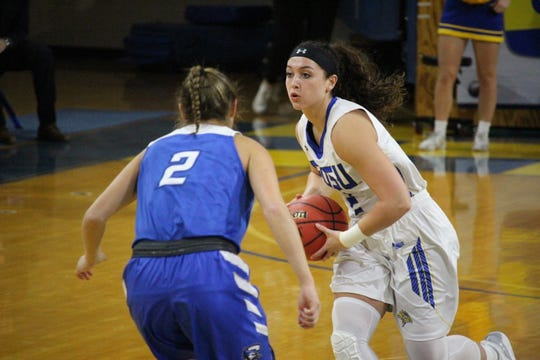 SDSU guard Rylie Cascio Jensen moved the ball up the floor Thursday night at Frost Arena. SDSU won 74-48.