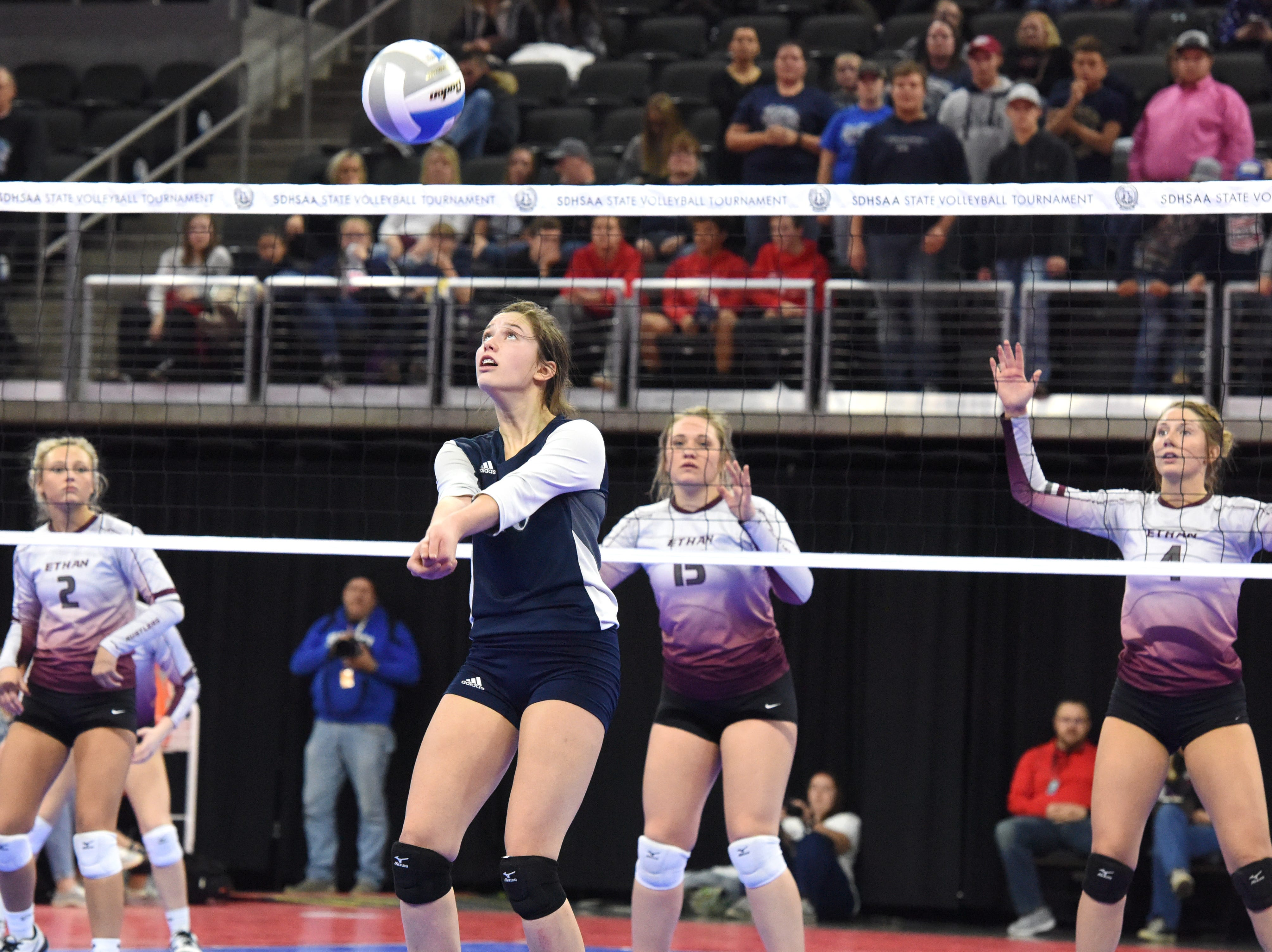 Burke's Bobbi Jo Wischmann bumps the ball during a match against Ethan, Friday, Nov. 16, 2018, at the Denny Sanford Premier Center in Sioux Falls, S.D.