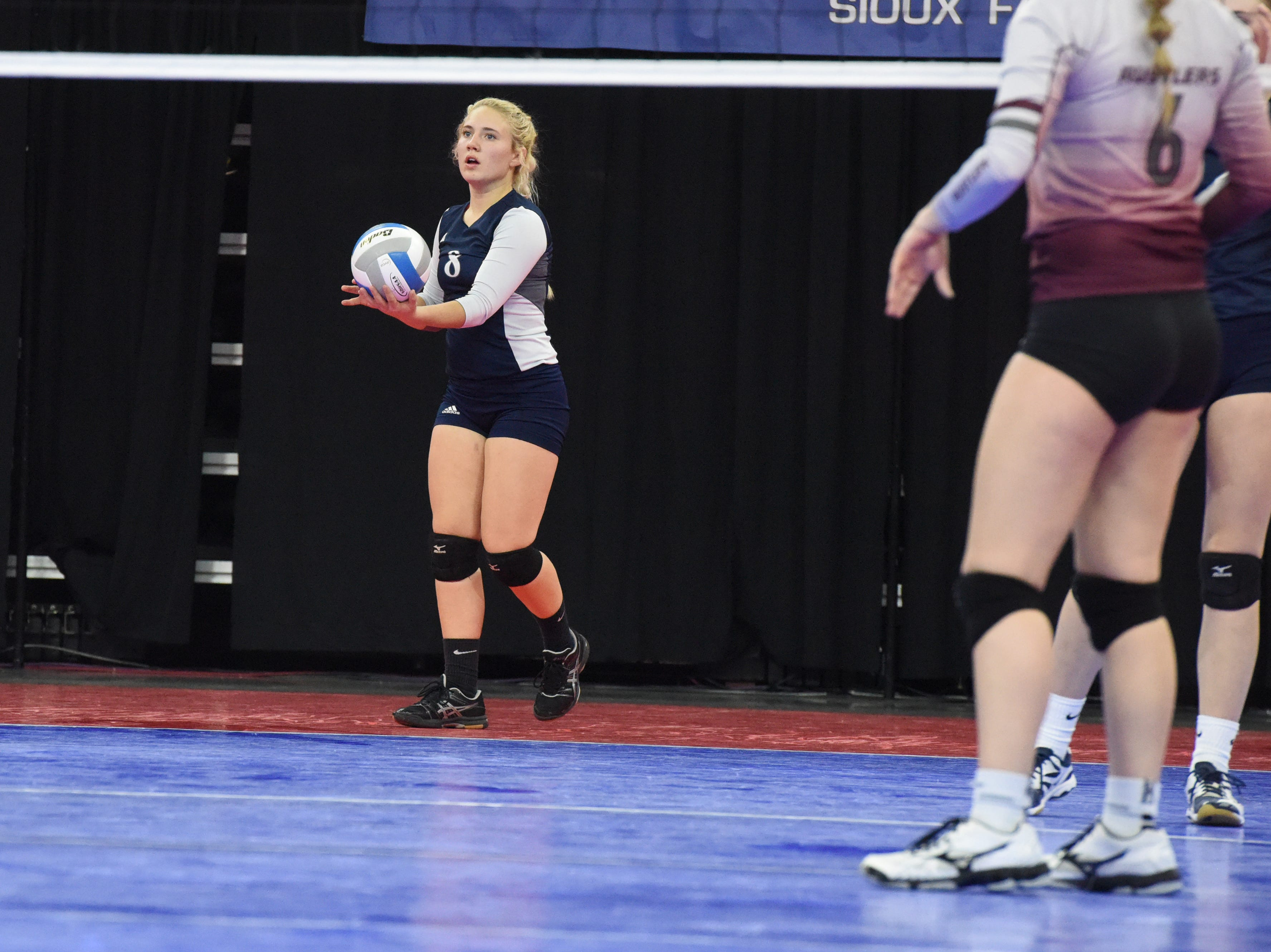 Burke's Ramee Hanson (8) prepares to serve the ball during a match against Ethan, Friday, Nov. 16, 2018, at the Denny Sanford Premier Center in Sioux Falls, S.D.