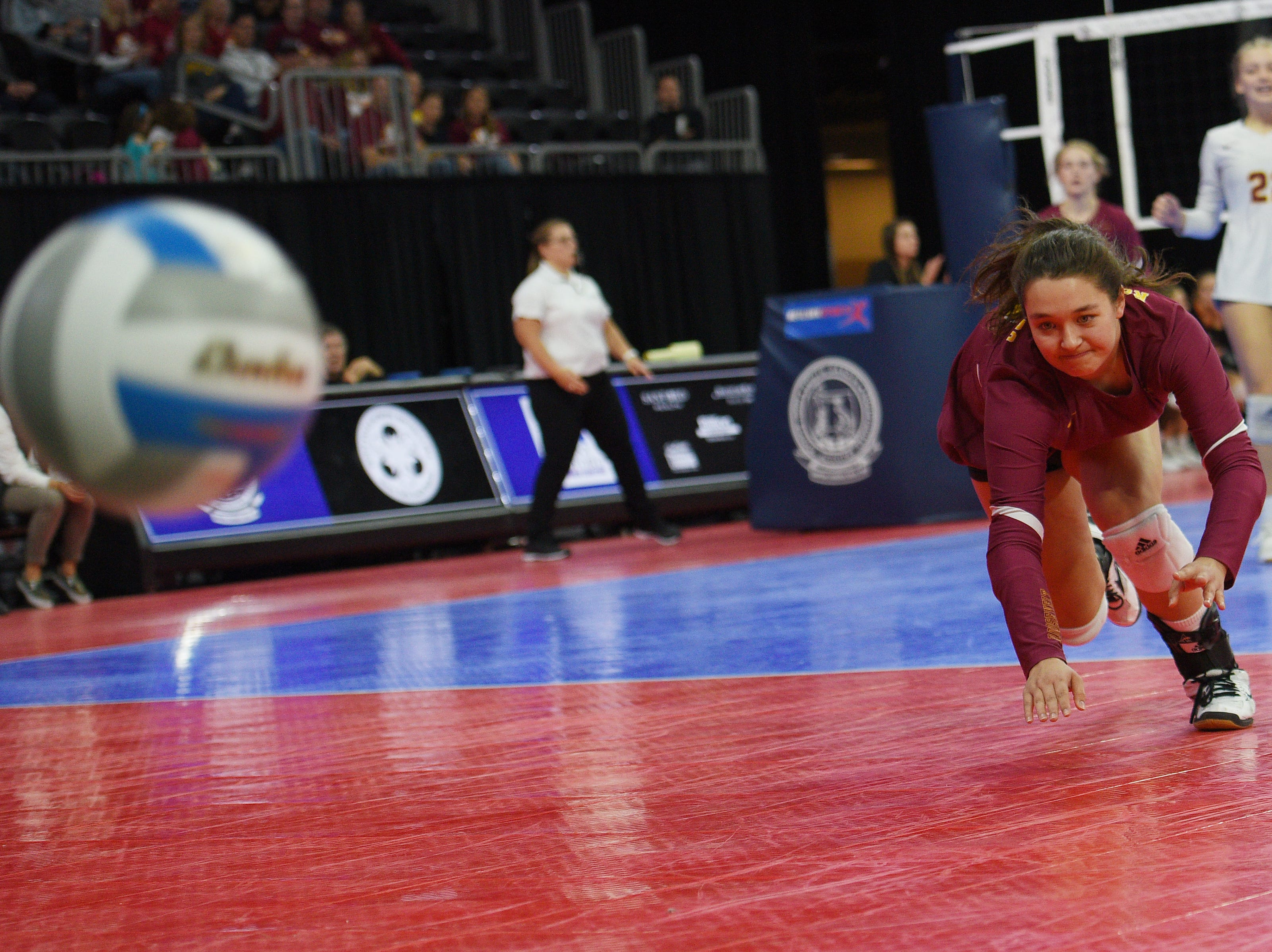 Roosevelt's Marisa Beintema dives for the ball during the game against Washington in the AA quarterfinals Thursday, Nov. 15, at the Denny Sanford Premier Center in Sioux Falls.