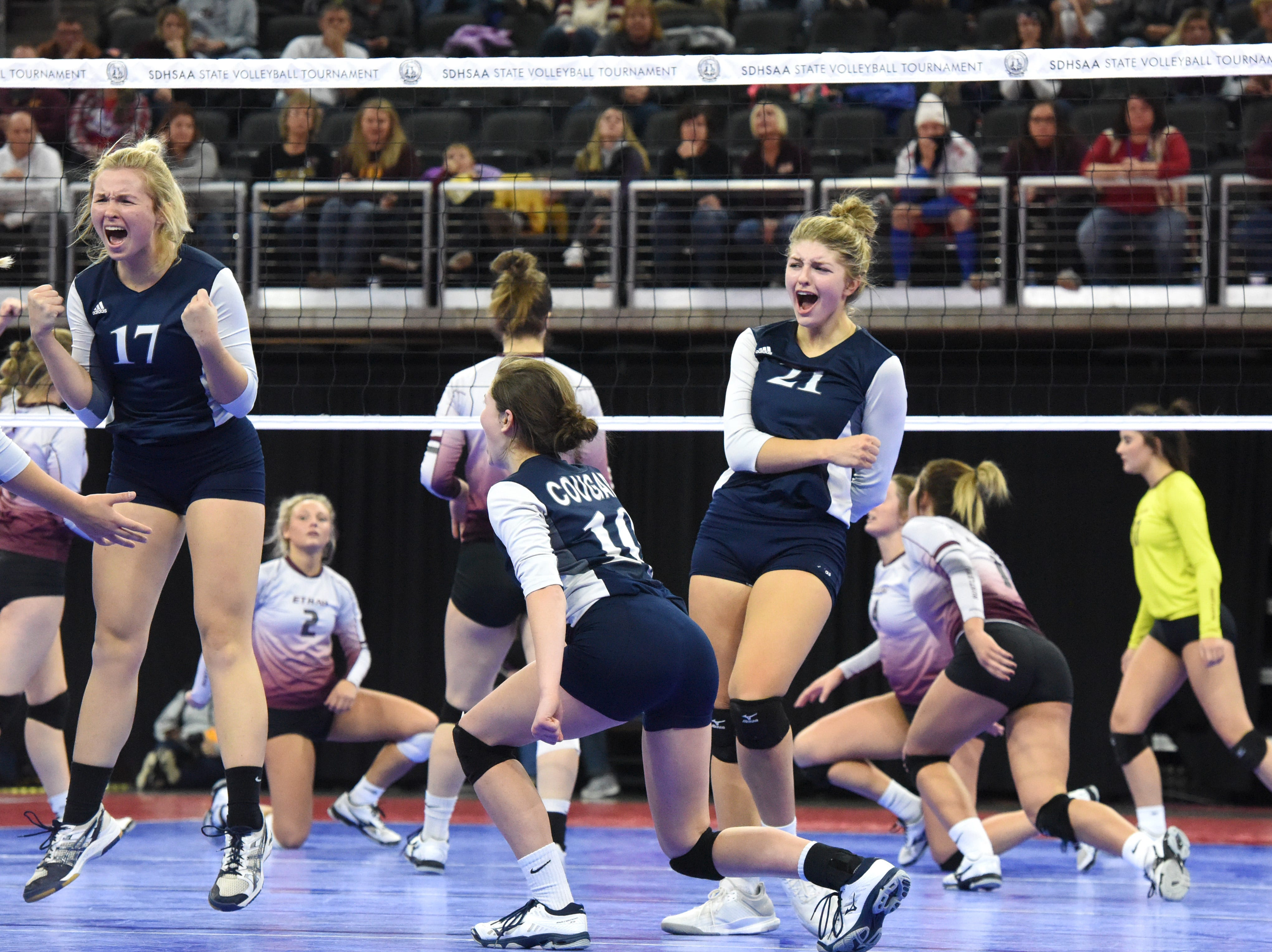 Burke players react during a match against Ethan, Friday, Nov. 16, 2018, at the Denny Sanford Premier Center in Sioux Falls, S.D.