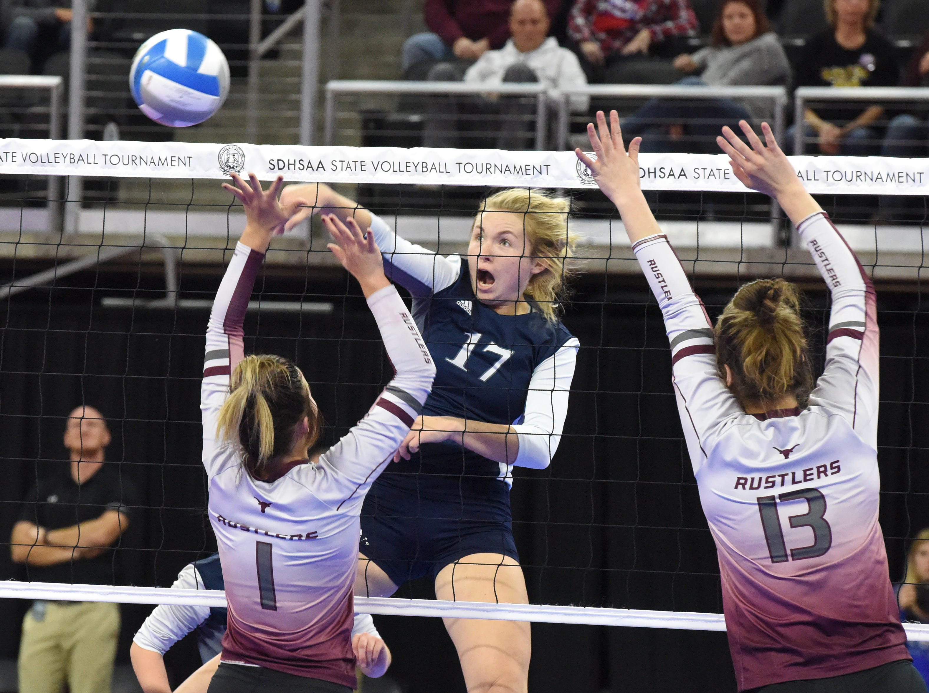 Burke's Sierra Swan (17) spikes the ball during a match against Ethan, Friday, Nov. 16, 2018, at the Denny Sanford Premier Center in Sioux Falls, S.D.