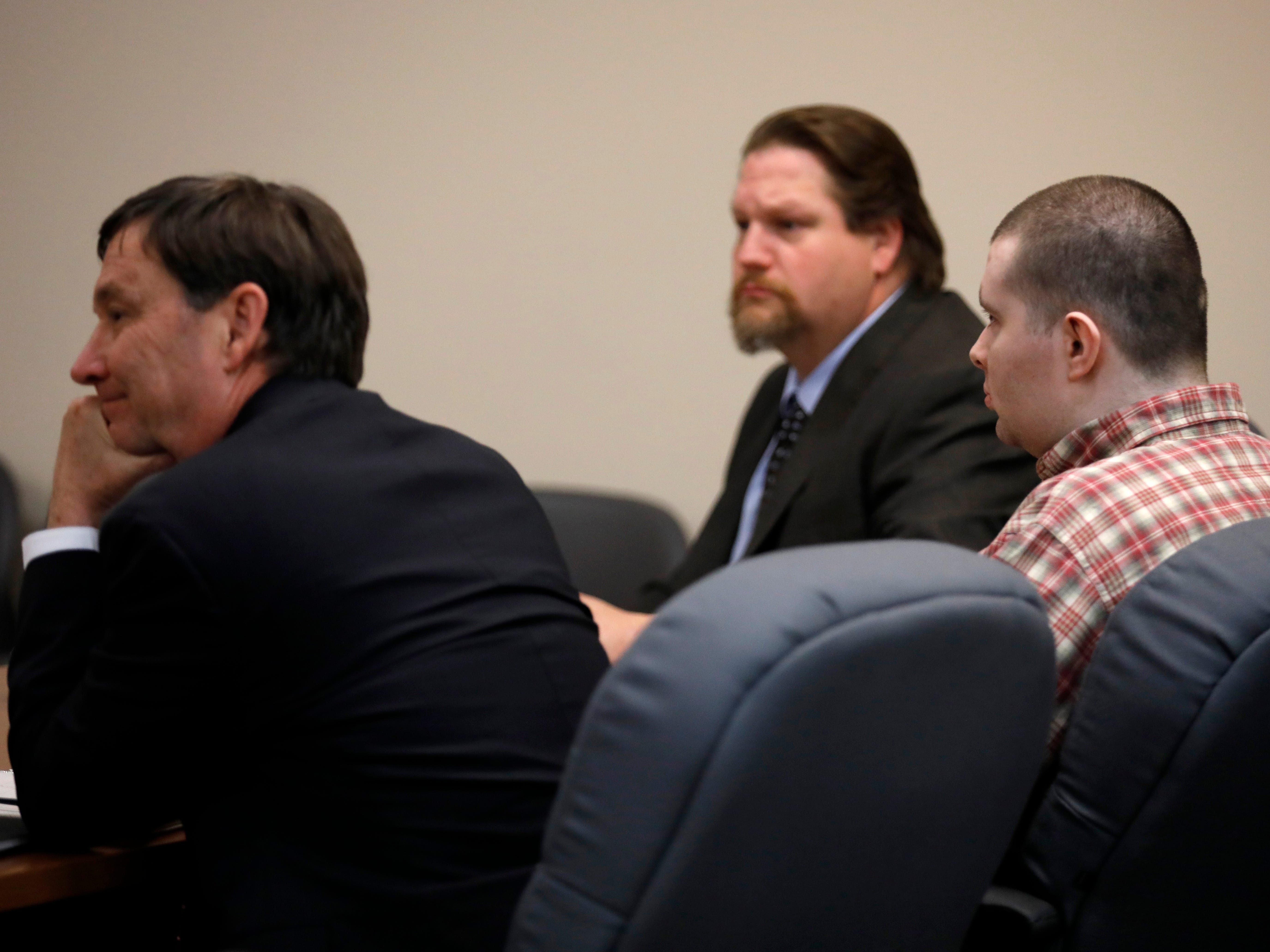 "Nicholas Godejohn listens as a verdict of guilty of murder in the first degree is read during his trial for the June 2015 murder of Clauddine ""Dee Dee"" Blanchard."