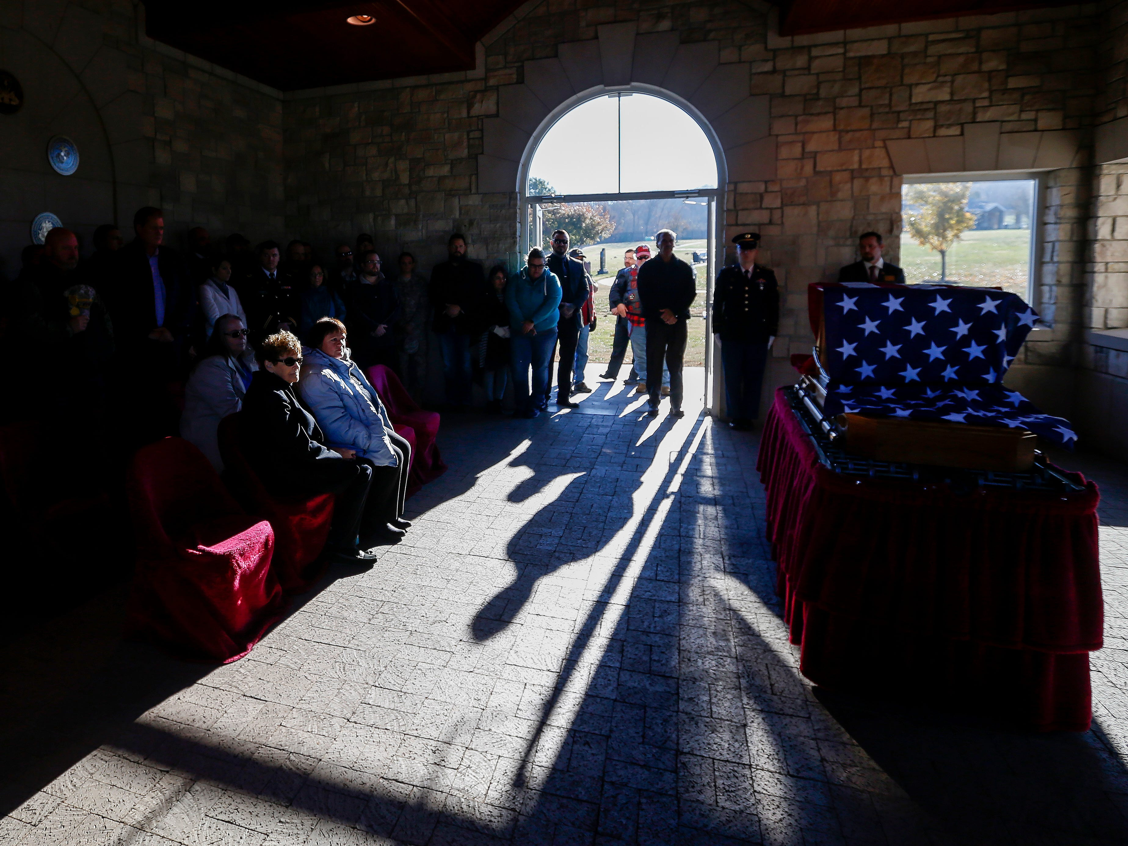 Veterans and members of the community filter into the chapel at the Missouri Veterans Cemetery during the funeral of Army veteran Michael Hiers on Friday, Nov. 16, 2018.