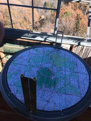 An alidade sighting device in place at the Hercules Glades fire tower.