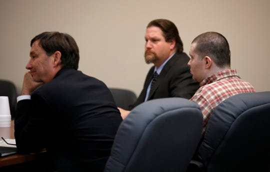"""Nicholas Godejohn listens as a verdict of guilty of murder in the 1st degree is read during his trial for the June of 2015 murder of Clauddine """"Dee Dee"""" Blanchard."""