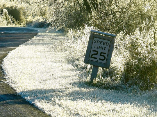 The grass seems to glow a bright white around a speed limit sign on the road leading to the Frontier Culture Museum on an ice-covered Friday morning, Nov. 16, 2018.