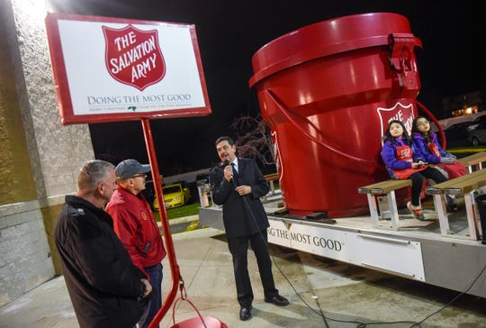 Major Mike Parker speaks during a kickoff event for this year's Salvation Army Kettle Drive Thursday, Nov. 15, in St. Cloud.