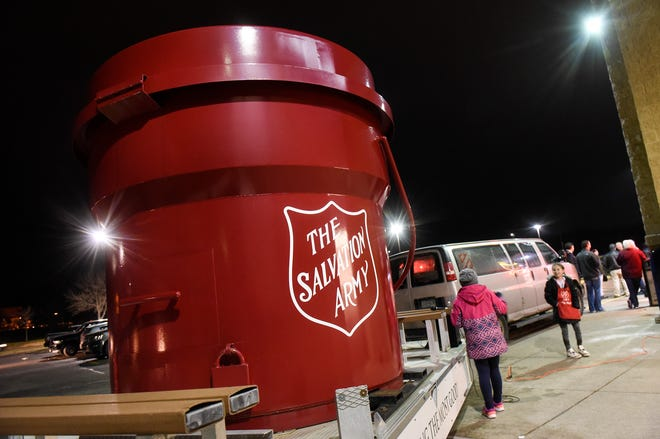 A large red kettle is on hand during a kick-off event for this year's Salvation Army Kettle Drive Thursday, Nov. 15, in St. Cloud.