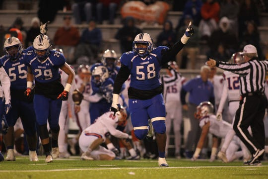 Godby defensive tackle Jakari Bush celebrates a turnover forced during a 32-27 loss to Bolles in a Region 1-5A semifinal at Gene Cox Stadium on Thursday, Nov. 15, 2018.