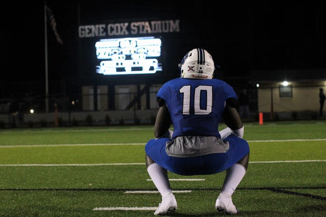 Godby senior linebacker Cortez Andrews looks at the scoreboard after a 32-27 loss to Bolles in a Region 1-5A semifinal at Gene Cox Stadium on Thursday, Nov. 15, 2018.