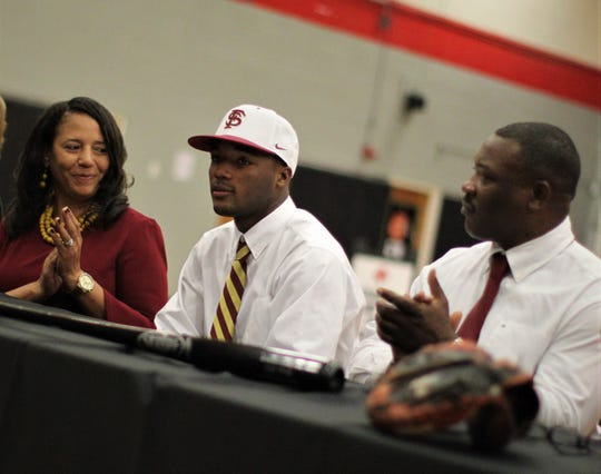 North Florida Christian senior baseball player Brandon Walker signed with Florida State during a signing ceremony in the NFC gym on Wednesday, Nov. 14, 2018.