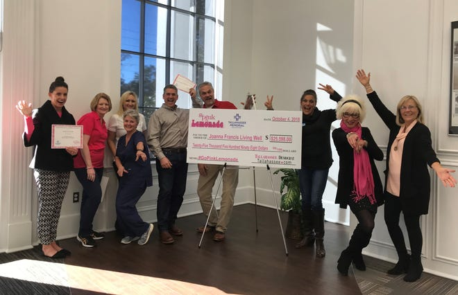 Almost 100 pink lemonade stands throughout Tallahassee raised more than $25,000 for Joanna Francis Living Well, which provides support and financial assistance for those living with terminal breast cancer.