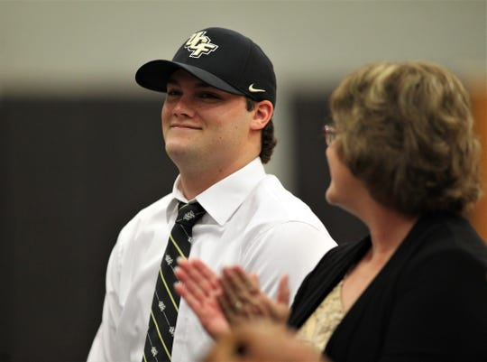 North Florida Christian senior baseball player Major Posey signed with UCF during a signing ceremony in the NFC gym on Wednesday, Nov. 14, 2018.