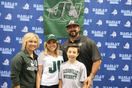Maclay volleyball libero Addyson Lewis signed Wednesday to play volleyball at Jacksonville University.