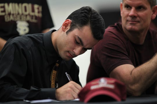 North Florida Christian senior baseball player Josiah Miller signed with Florida State during a signing ceremony in the NFC gym on Wednesday, Nov. 14, 2018.