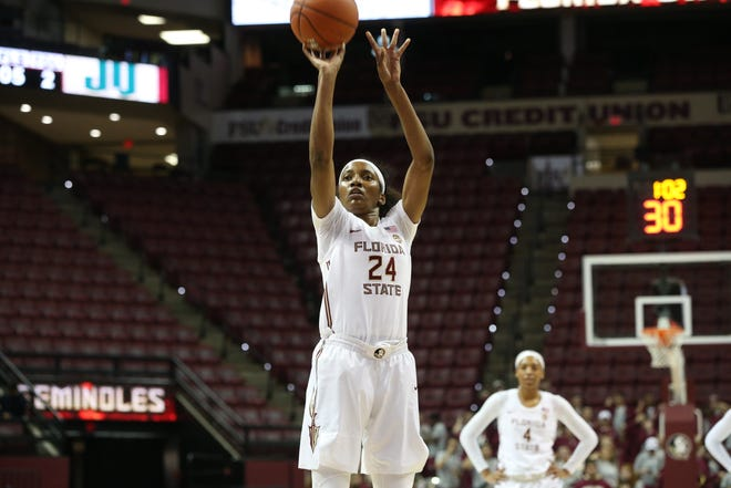 Florida State Seminoles guard Morgan Jones (24) shoots a free-throw as the Florida State Seminoles take on the Jacksonville Dolphins in college basketball at the Tucker Civic Center, Thursday, Nov. 15, 2018.
