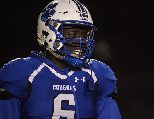 Godby senior Javon Solomon reacts after a 32-27 loss to Bolles in a Region 1-5A semifinal at Gene Cox Stadium on Thursday, Nov. 15, 2018.