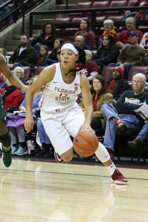 Florida State Seminoles guard Nausia Woolfolk (13) drives the ball down the court as the Florida State Seminoles take on the Jacksonville Dolphins in college basketball at the Tucker Civic Center, Thursday, Nov. 15, 2018.