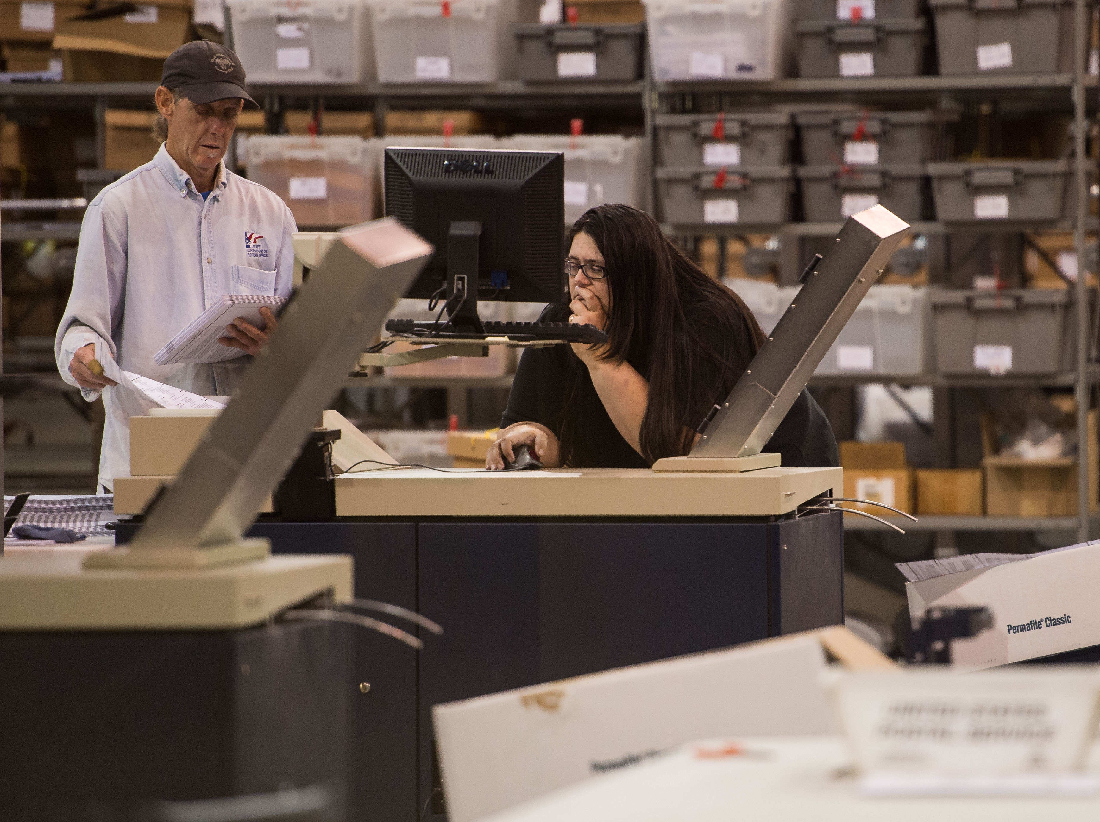 The machine recount of Midterm Elections ballots, under the direction of Supervisor of Elections Susan Bucher, takes place Thursday, Nov. 15, 2018, at the Palm Beach County Supervisor of Elections Service Center in Riviera Beach. A manual recount of some of the ballots is scheduled for Friday morning.