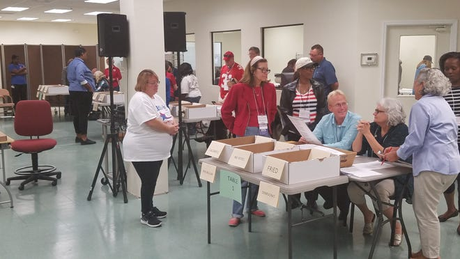 With observers from both parties looking over their shoulders, Republican Kenneth Nail and Democrat Mary Ann McBee quickly look through ballots separated from the rest because the machine count could not determine a vote for Agriculture Commissioner.