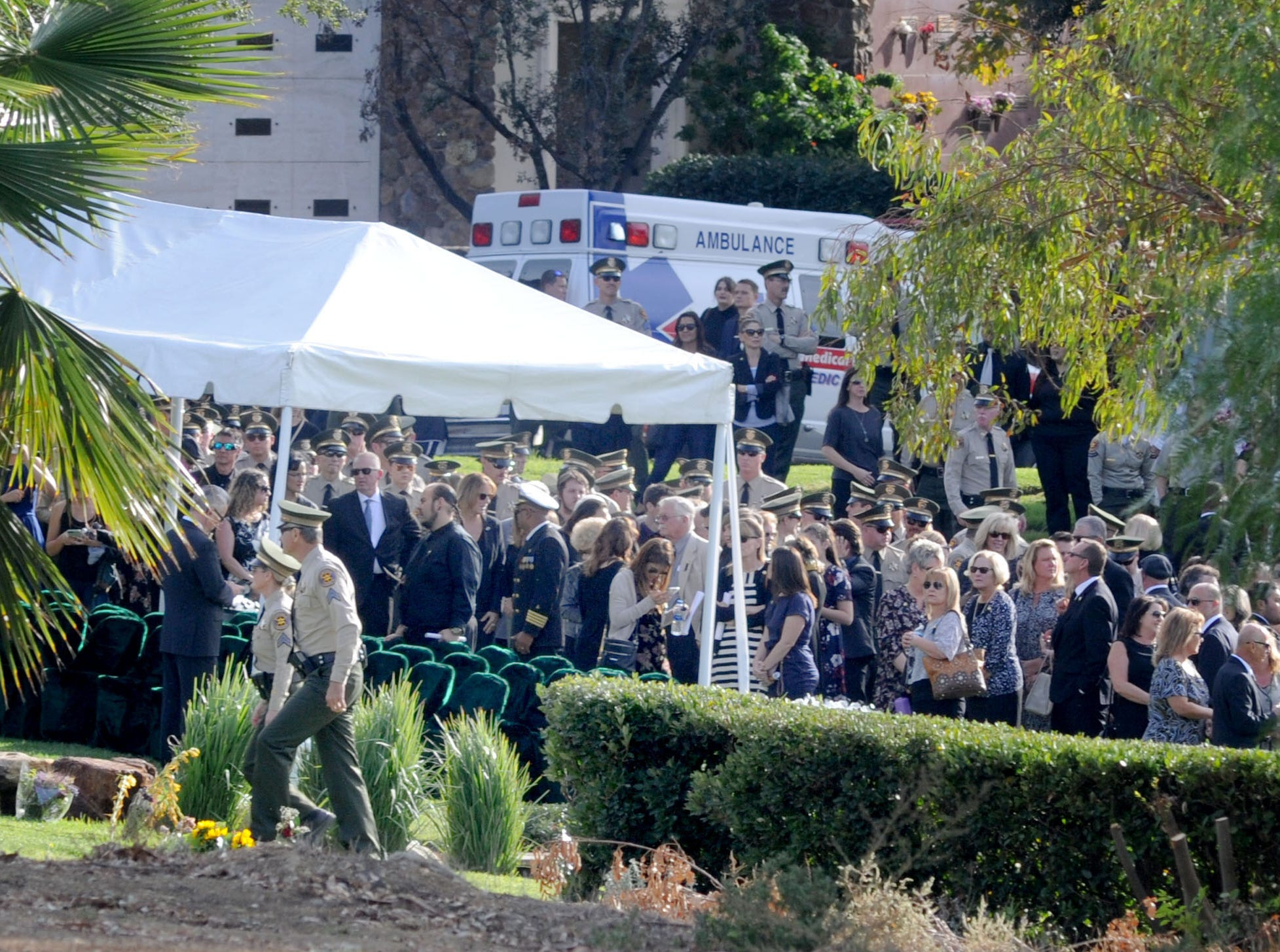 Law enforcement personnel wait for the interment  of Ventura County Sheriff's Office Sgt. Ron Helus at Pierce Brothers Valley Oaks Memorial Park in Westlake Village Thursday.