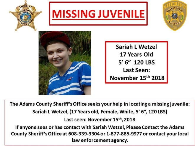 Law enforcement officials in Adams County say they are searching for a missing 17-year-old girl, last seen Thursday morning.