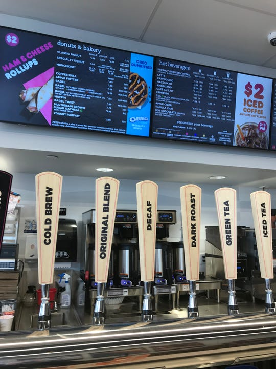 The new coffee taps at Dunkin Donuts new Next Generation store in Hartsdale.