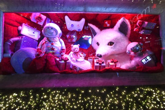 """Macy's Herald Square unveils its legendary Christmas windows celebrating the theme """"Believe In The Wonder Of Giving."""""""