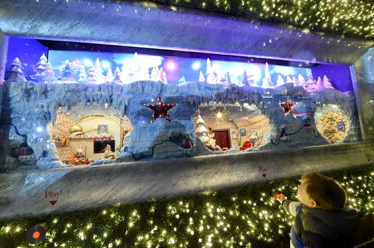 """Macy's Herald Square unveils its legendary Christmas windows celebrating the theme """"Believe In The Wonder Of Giving""""   The six enchanted windows share a tale of friendship, family, adventure, and teamwork as Sunny the Snowpal works to save Christmas with the help of her friends."""