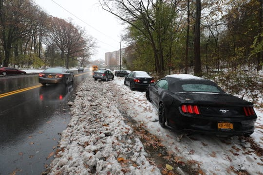 Abandoned cars line the access road from the Cross County and Saw Mill River parkways on Rumsey Road. In Yonkers , Friday, Nov. 16, 2018.