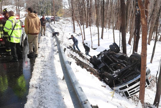 A truck rolled over on Rt. 116 in North Salem forcing the road to be closed in both directions Nov. 16, 2018. The driver and passenger were uninjured.