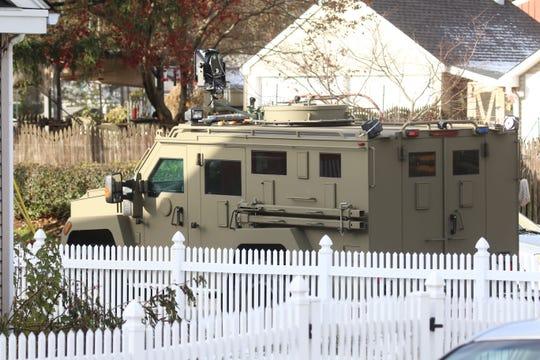 An armored police vehicle in the Bellemoor neighborhood.