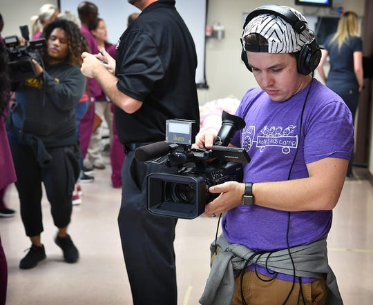 In this file photo, a MSU Texas Mass Communications student participates in an Interdisciplinary Communications Event. A student-produced documentary won the SCBS competition and 10 other MSU students were finalists.