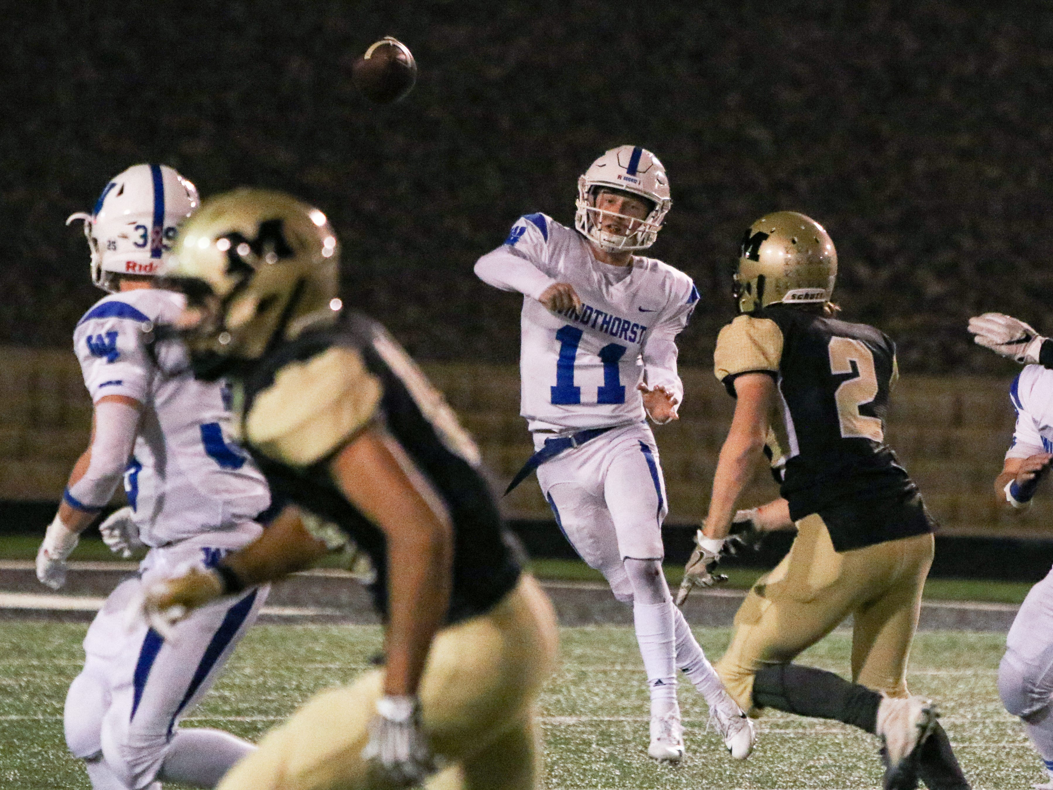 Windthorst's Hunter Wolf passes Thursday, Nov. 15, 2018, in the Region 2A division II bi-district game against Memphis in Vernon.