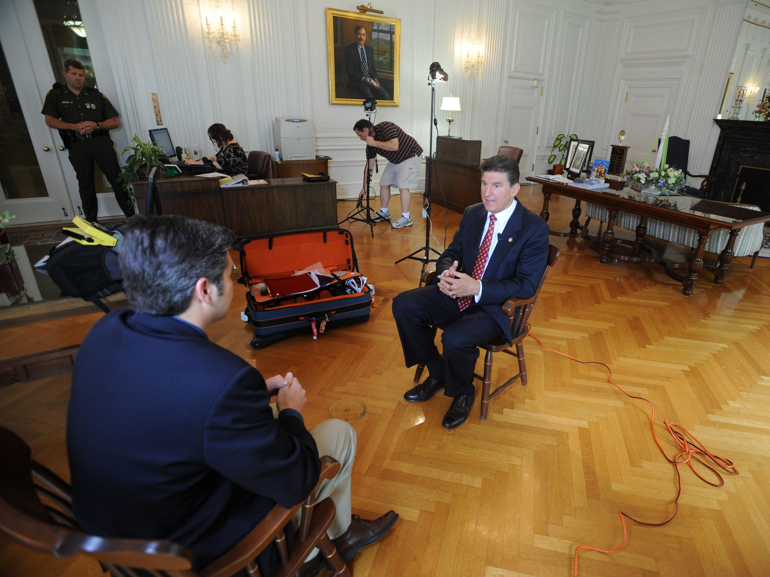 Set up for the West Virginia Primary --  West Virginia Gov. Joe Manchin sits for an interview with CNN's Jim Acosta, left,  outside his office at the Capitol Tuesday, May 6, 2008 in Charleston, W.Va.