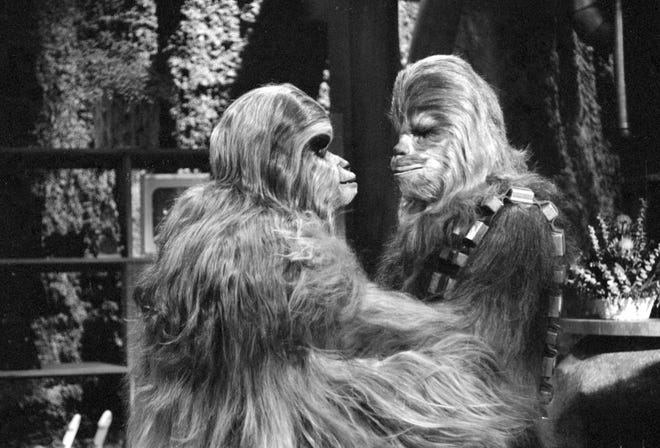 Mickey Morton (as Malla) and Peter Mayhew (as Chewbacca) in 1978's  CBS 'Star Wars Holiday Special.'