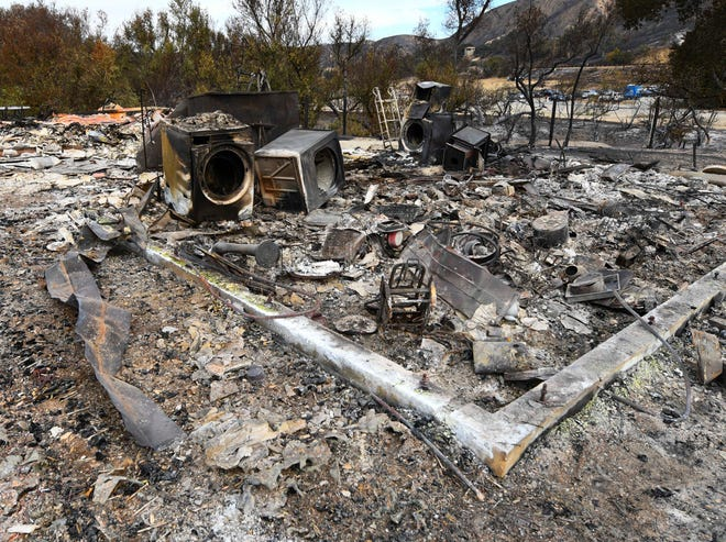 After the Woolsey Fire tore through, little is left of one of the utility buildings at the Paramount Ranch in Agoura Hills.