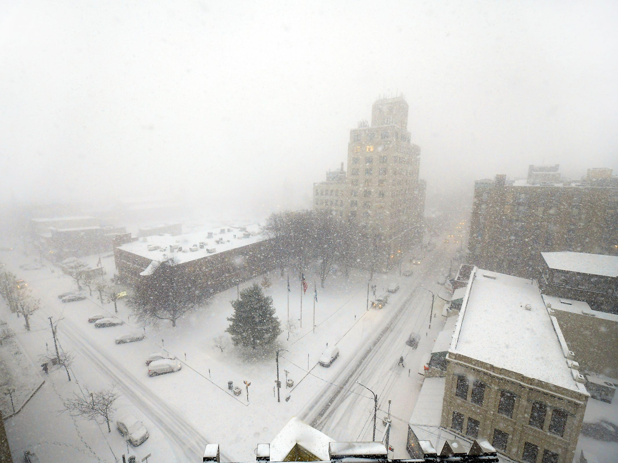 An autumn snow storm caused a white-out in downtown Scranton, Pa., on Nov. 15, 2018.