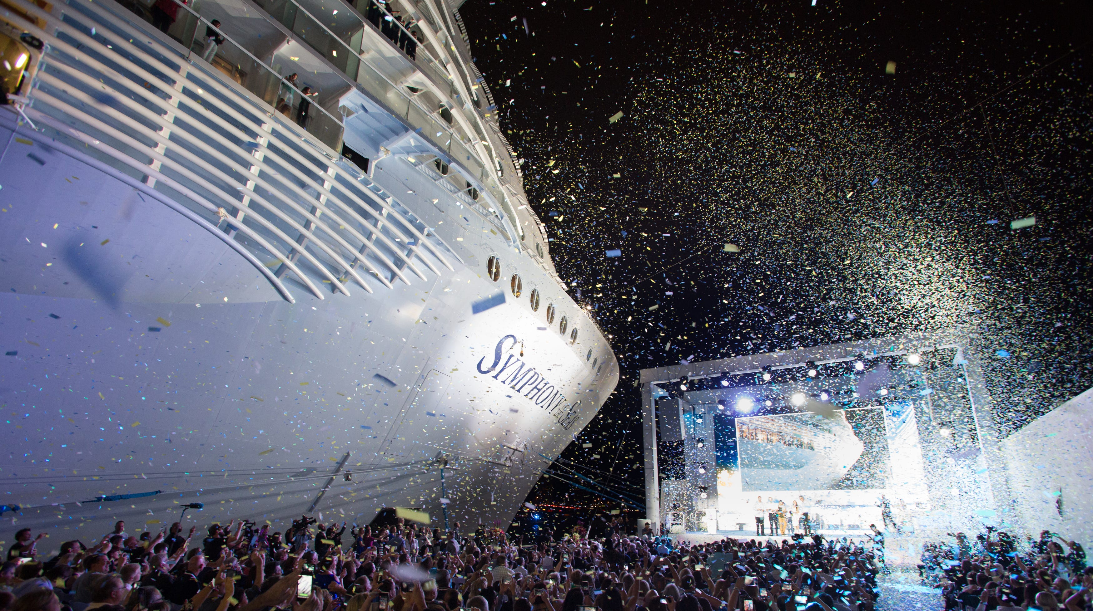 The new world's largest cruise ship, Royal Caribbean's Symphony of the Seas, was christened Nov. 15, in Miami.