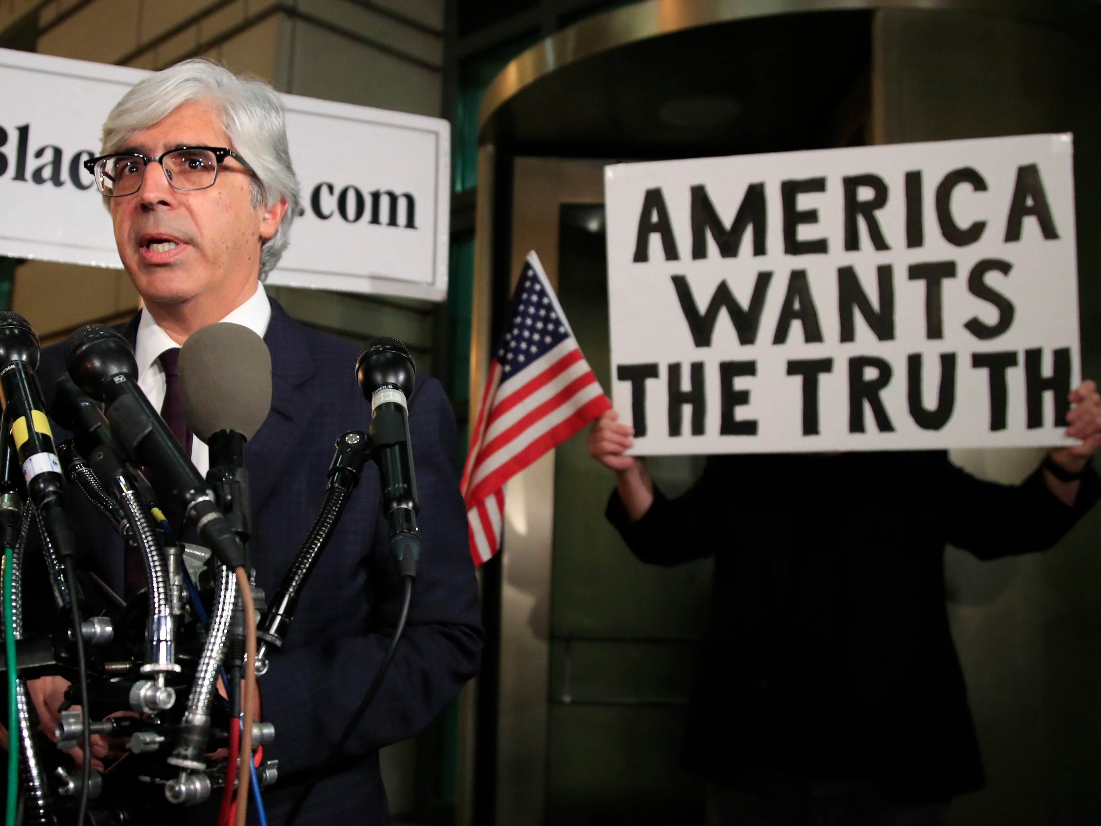 """CNN's lawyer Ted Boutrous speaks to reporters outside the federal court in Washington, Nov. 14, 2018, following a hearing on a legal challenge against President Donald Trump's administration over the revocation of CNN's Jim Acosta's """"hard pass."""""""
