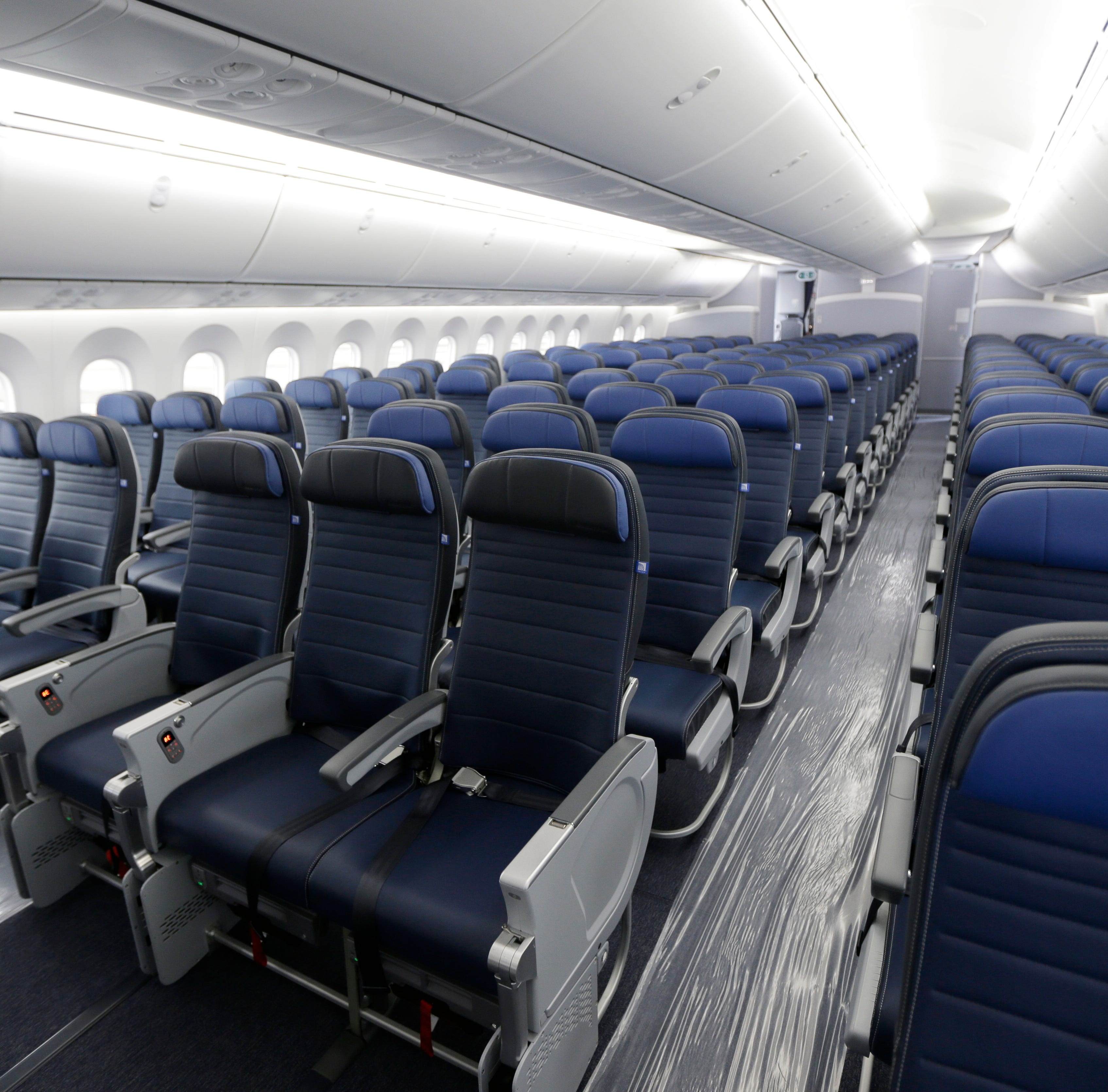 Economy class seating is shown on a new United Airlines Boeing 787-9 on Jan. 26, 2016.