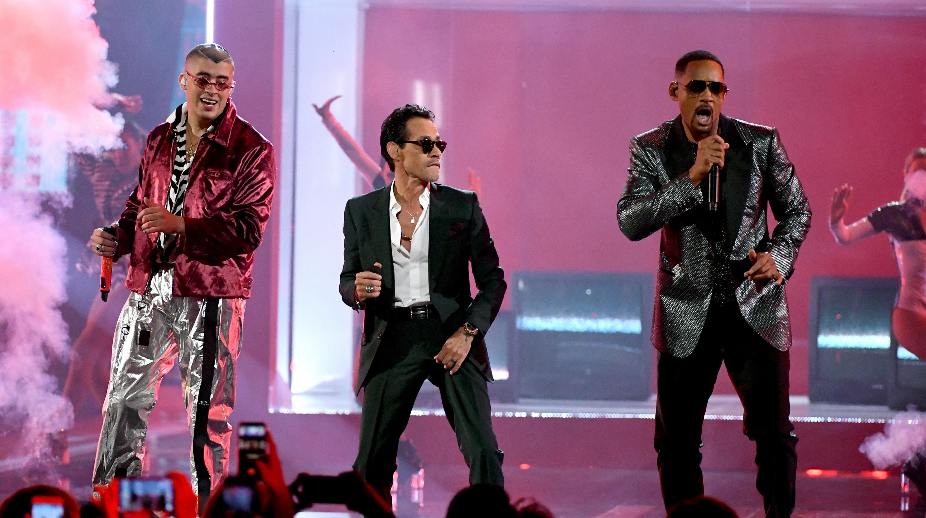 (L-R) Bad Bunny, Marc Anthony and Will Smith perform onstage during the 19th annual Latin GRAMMY Awards at MGM Grand Garden Arena on November 15, 2018 in Las Vegas, Nevada.
